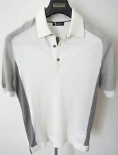 $2400 STEFANO RICCI Silk Polo Shirt with Crocodile Leather Trim Size 46 Euro XS