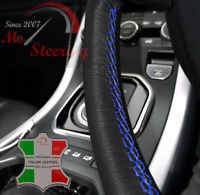 VAUXHALL TIGRA B 04-09 BLACK LEATHER STEERING WHEEL COVER BLUE DOUBLE STITCH