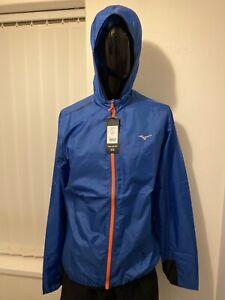 Mizuno Waterproof Men's blue lightweight hooded jacket  - Large