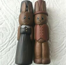 Mr and Mrs Easter Bunny Rabbit Tall Brown Dress Vest Ceramic Hollow Spring Decor