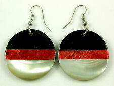 Handmade Red Coral Mother of Pearl Shell Dangle Drop Hook earrings Jewelry BA097