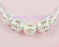 30pcs Silver /P Carved Stardust Bead Fit European Charm Bracelet ST05