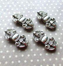 Pack of 5 Tibetan Flour de Lis Flower Beads Antique Silver Metal beads
