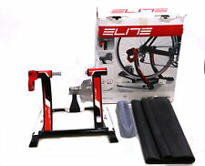 Elite Qubo Power Indoor Fluid Bike Trainer with Floor Mat and Riser Block