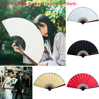 Large Chinese Bamboo Folding Hand Fan Wedding Flower Pattern Vintage Gift Paper