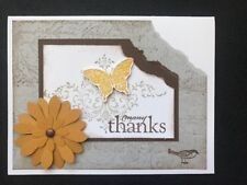 """Stampin Up Card Kit Set Of 4 """"Many Thanks"""" Yellow Flower With Small Bird"""