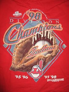 1998 American League Central Division CLEVELAND INDIANS (XL) T-Shirt