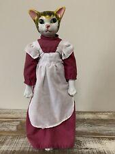 Vintage Porcelain Cat Head Doll Stuffed Cloth Body - 16�