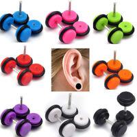 MENS WOMENS PAIR ACRYLIC FAKE EAR PLUG CHEATER STUD EARRING 6MM  UK