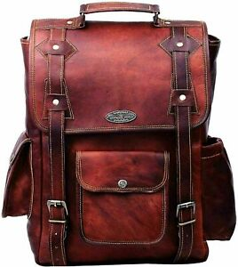 "New Quality Backpack Genuine Brown Leather Travel Rucksack 16"" Laptop Office Bag"