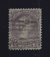 Canada Sc #29i (1868-78) 15c Purple Large Queen VF Used