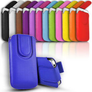 Leather Slide In Phone Case Button Close Pull Tab Flip Cover fits Various Phones