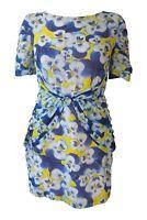 OLIVIA RUBIN Blue Yellow Pansy Print Mini Dress (UK 8)