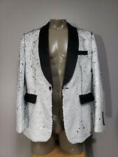 Tailored Recreation Premium Sequin Black/White Blazer Jacket, Size Men's XL