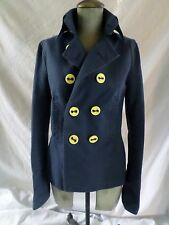 DSQUARED2 authentic made Italy blue cotton yellow fitted pea coat jacket 40