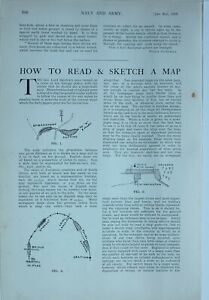 1914 WW1 ARTICLE & PICS HOW TO READ & SKETCH MAPS DIAGRAM ARTICLE