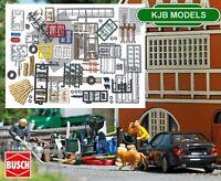 BNIB OO / HO BUSCH 1634 Mega Junk Set - Road / Rail Side Rubbish - Car Parts etc