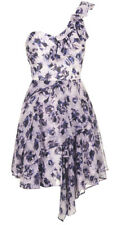 TOPSHOP Size 4-14 Purple Floral One shoulder Chiffon Dress Summer/ casual Dress