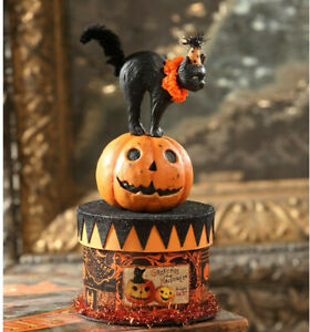 Bethany Lowe Party Cat on Box Paper mache Black Halloween Cat container