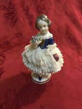 Aelteste Volkstedter Dresden Porcelain Lace Figurine Girl With Bouquet