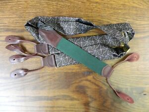 "Mens Suspenders  Polo Ralph Lauren Green Brown leather 50"" Silk  NWOT N#159"