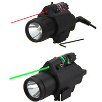 Tactical Combo Green/Red LED Flashlight Torch Laser Sight Scope Rifle Mount