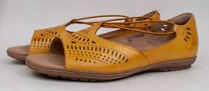 Earth Origins Camellia Nauset Leather Sandals Amber Yellow 7.5W $90