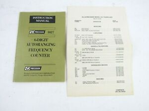 BK Precision 1827 Instruction Manual With Parts List