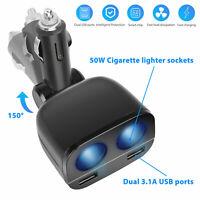 12-24V 2Way Car Cigarette Lighter Socket Splitter Dual USB Charger Power Adapter