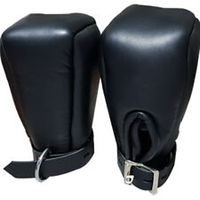 REAL Sexy Black SHEEP Leather Padded Lined Bondage Fist Mitts Gloves  Mitts2-BLK