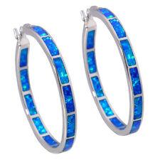 """Luxury Blue Fire Opal Women Jewelry Gemstone Silver Hoop Earrings 1 3/8"""" OH2515"""