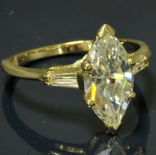Ladies 14k Yellow Gold Marquise Baguette Cubic Zirconia Engagement Ring