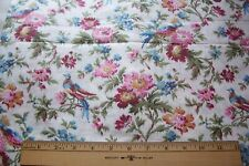 Gorgeous Vtg Antique Early 1900's Cotton Fabric with Flowers and Birds