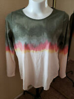 Women's NWT SONOMA Size XL Everyday Tee Tie-Dyed Long Sleeve Top Size