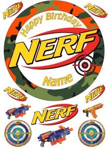 Nerf Theme Personalised Edible Cake Topper on Icing or Wafer