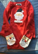 My First Christmas One Piece with Santa Socks 0-6 months NIB