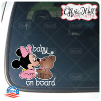 "Baby Minnie W/Teddy Bear""BABY ON BOARD"" Sign Vinyl Decal Sticker for Cars/Trucks"