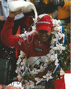 INDY CAR HELIO CASTRONEVES SIGNED 8X10 PHOTO INDIANAPOLIS 500 CHAMPION 1 W/COA
