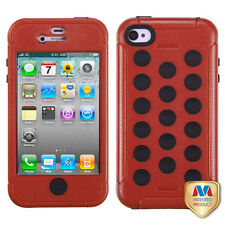 For iPhone 4 4S Rubber IMPACT DOTS TUFF HYBRID Case Skin Phone Cover Red Black