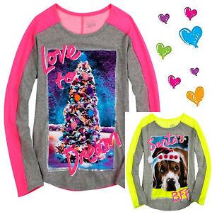 NWT Justice Girls NEON Christmas Holiday Tee Top Shirt PINK YELLOW 6  7  8 10 12