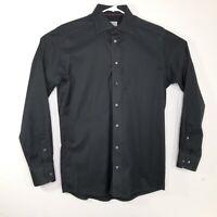 ETON Contemporary Mens 15.5 39 Solid Black Dress Shirt Long Sleeve Cotton