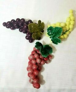 """Vintage Cluster of Grapes Set of 3 Ceramic Wall Hang or Table Decor 7"""" x 4"""""""