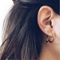 4Pcs/Set Women Bohemian Large Circle Earrings Ear Clip Gold Star Stud Jewelry