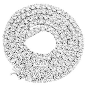 CZ 4mm 1 Row Real 925 Sterling Silver Bling Tennis Chain Necklace ANTI TARNISH