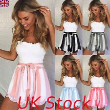 Womens Ladies Fashion Summer High Waist Floral Casual Beach Hot Pants Shorts UK