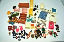 Vintage Lot Plastic Dollhouse Dolls and Furniture Accesories
