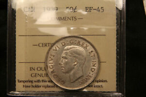 1939 Canada Silver 50 Cents. ICCS EF-45. Nice lustre, lower mintage date.