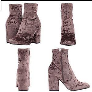Steve Madden Gaze 7.5 Mushroom Velvet Beige Brown Taupe Ankle Boots Booties New