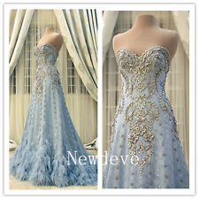 Fantasy Sky Blue Feather Crystal Wedding Dresses Sweetheart Bridal Gowns Custom