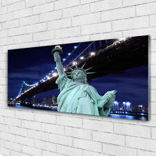 Wandbilder Glasbilder Druck auf Glas 125x50 Brücke Freiheitsstatue Architektur